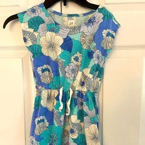 Gap Kids blue aqua white floral dress sz 6-7 S